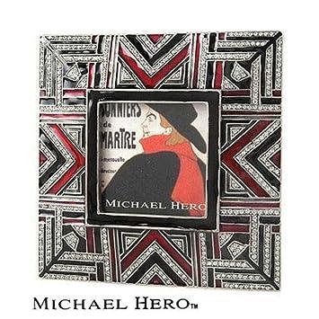 michael hero square burgundy and black art deco picture frame with hand set genuine swarovski crystal - Michael Frames