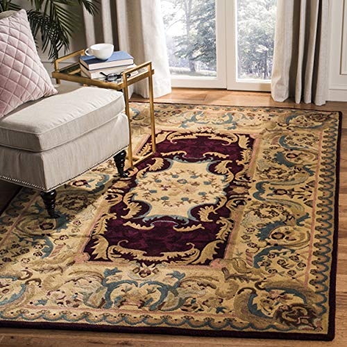 Safavieh Empire Collection EM422A Handmade Traditional European Burgundy and Gold Premium Wool Area Rug (10' x 14')