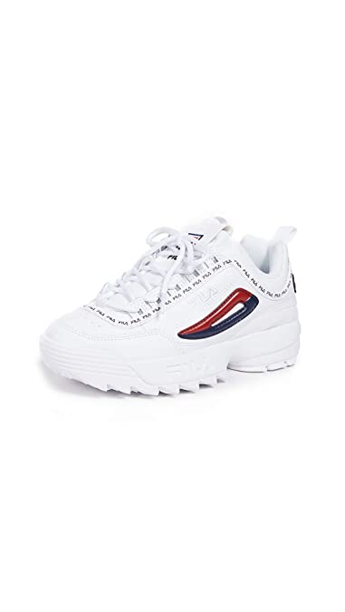 Fila Damen Disruptor II Premium Repeat Sneakers, Weiá (White/Fila Navy/Fila  Red), 35 M EU