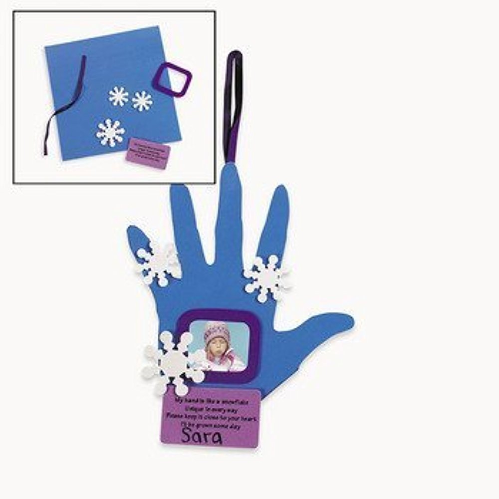Set of 12 Handprint Snowflake Photo Frame Ornament Craft Kit   Crafts for Kids and Photo Crafts