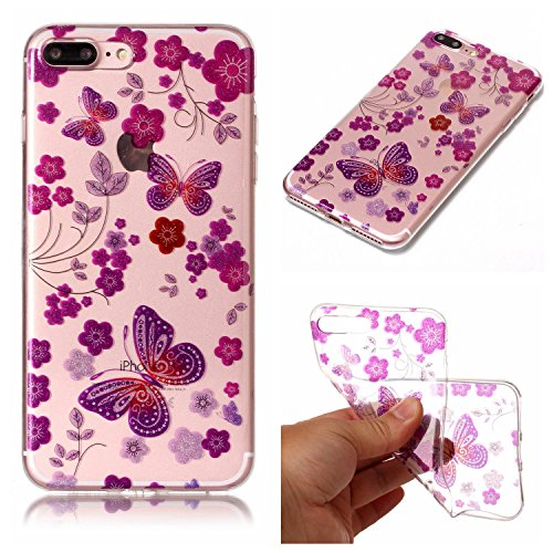 Custodia iPhone 7 Plus / iPhone 8 Plus , LH Cartamo Farfalla TPU Trasparente Silicone Cristallo Morbido Case Cover Custodie per Apple iPhone 7 Plus / iPhone 8 Plus 5.5