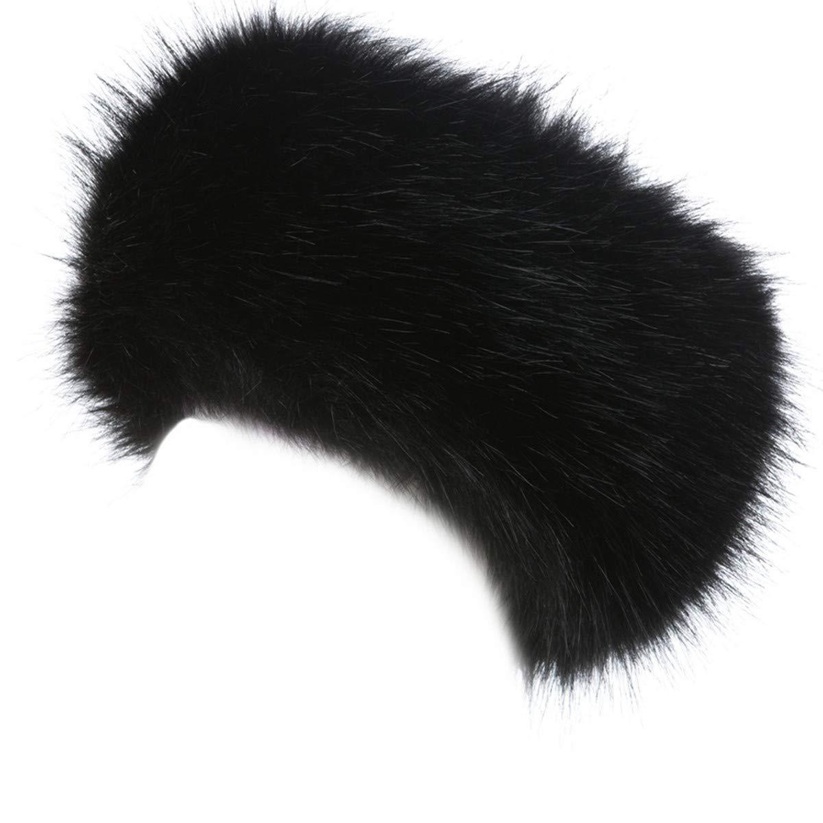 Lucky Leaf Cozy Warm Hair Band Earmuff Cap Faux Fox Fur Headband with Stretch for Women (B1-Black)