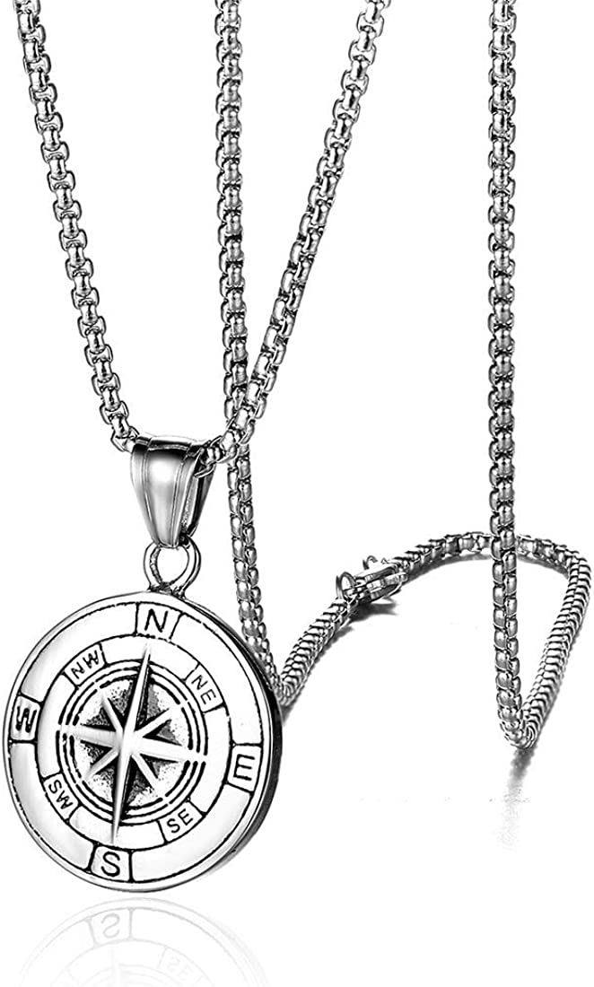 Compass Necklace Gift for Men/Wife, I'd Be Lost Without You Valentines Day, Compass Pendants Male Jewelry for Her, Romantic Anniversary Birthday Gift Ideas