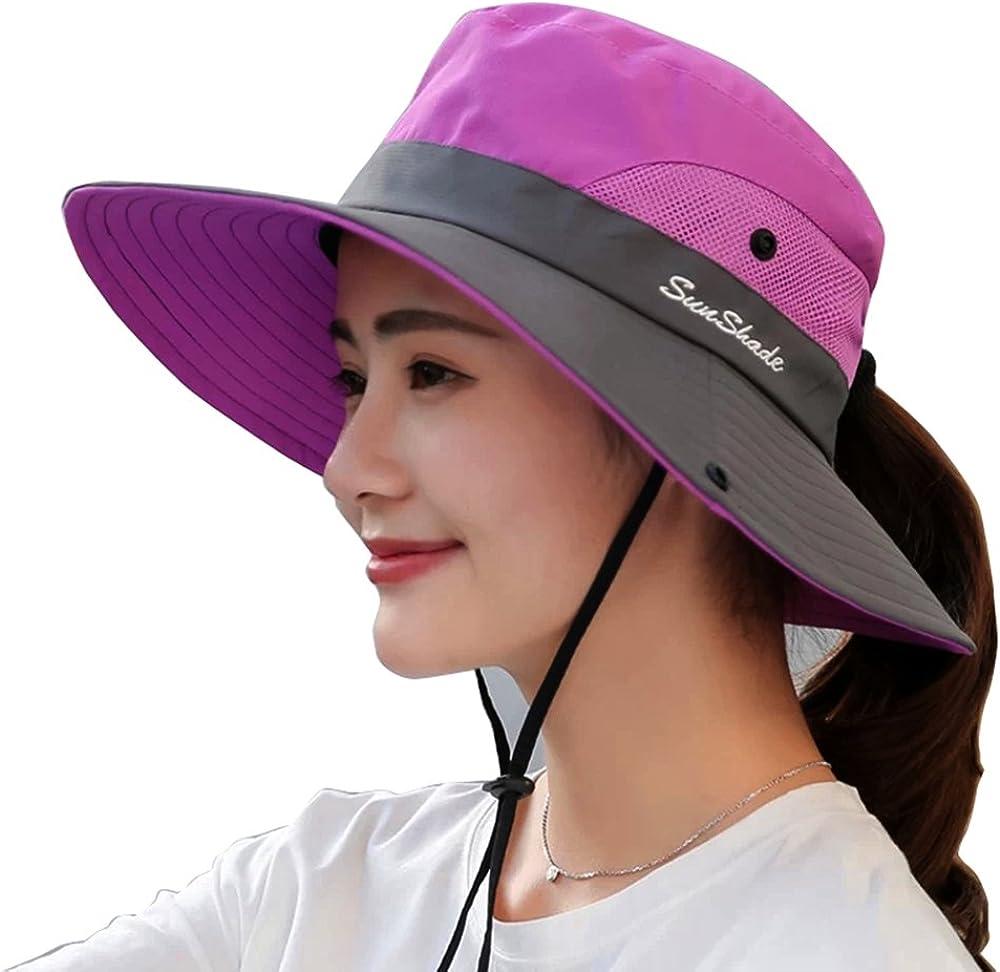 Women s Sun Hat Wide Brim Mesh Boonie Hat Foldable Cap Beach Bucket Hat