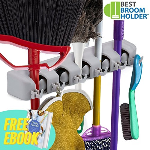 "Wall Mounted Non Slide Mop Broom Holder and Rake Garden Tool Organizer with 6 Hooks and 5 Slots Up to 1.25"" Handle - Quick Installation with Mounting Screws - E-Book Included"