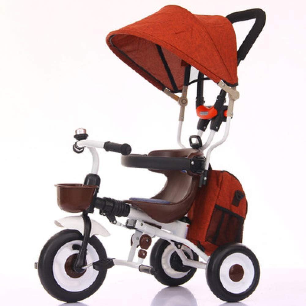 QXMEI Triciclo Bebé Plegable 8 Meses A 5 Años Freno De Rueda Trasera Triciclo Infantil Mango Regulable En Altura Toldo Abatible Y Desmontable Triciclo para Niños Máximo del Cojinete Es 60kg,Orange