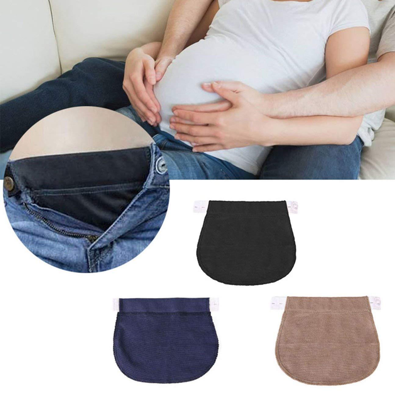 MachinYesell Maternity Grossesse Ceinture Ceinture R/églable /Élastique Taille Extender V/êtements Pantalon pour Enceinte Noir