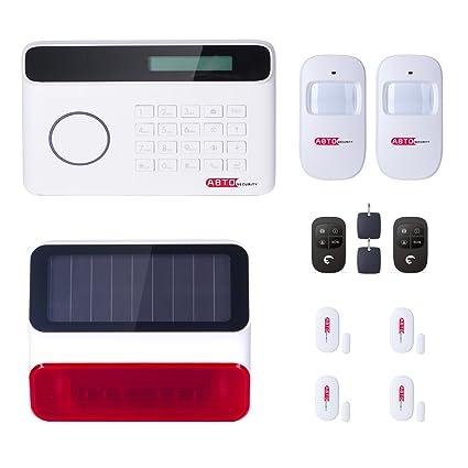 SZABTO Dispositivo de alarma inhalámbrico con línea de teléfono, sensor para puertas, sensor de movimiento y mando a distancia para la seguridad de la ...