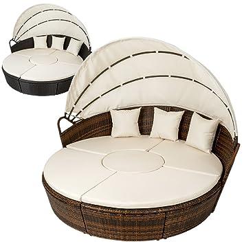 TecTake Conjunto de sillones con un techo isla para tomar el sol de ALUMINIO y ratán sintético - disponible en diferentes colores - (Marrón | No. ...
