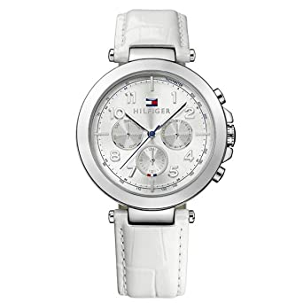 0bab77d70 Image Unavailable. Image not available for. Color: Tommy Hilfiger Womens  1781448 White Leather Strap Silver Dial Chronograph Watch