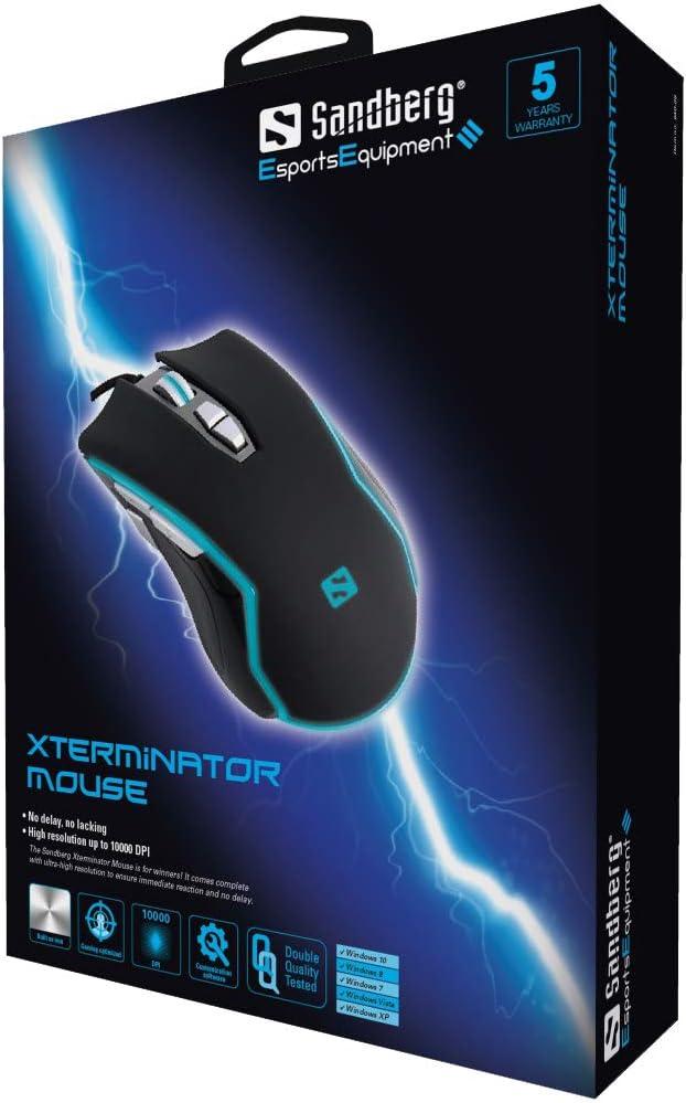 Sandberg Xstremator Mouse Xterminator Mouse RGB LED Light with Black /& Blue