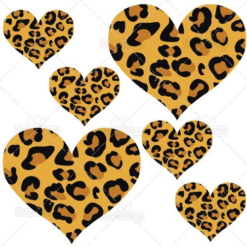 Set of 20 - Reusable Wall Decals (Leopard Print Hearts)]()