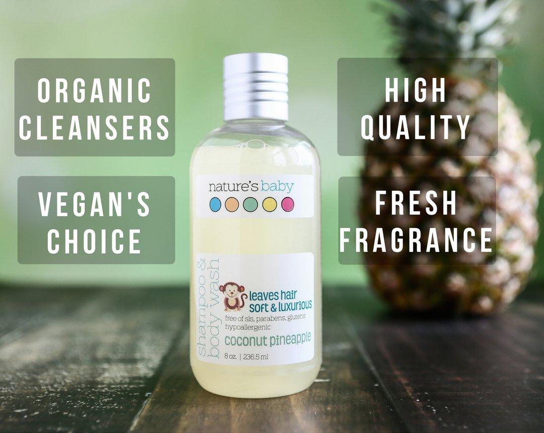 Nature's Baby Organics Shampoo & Body Wash, Coconut Pineapple, 8 Fl Oz
