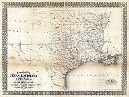 Amazon.com: Civil War Map Reprint: Campaign map of Texas, Louisiana on
