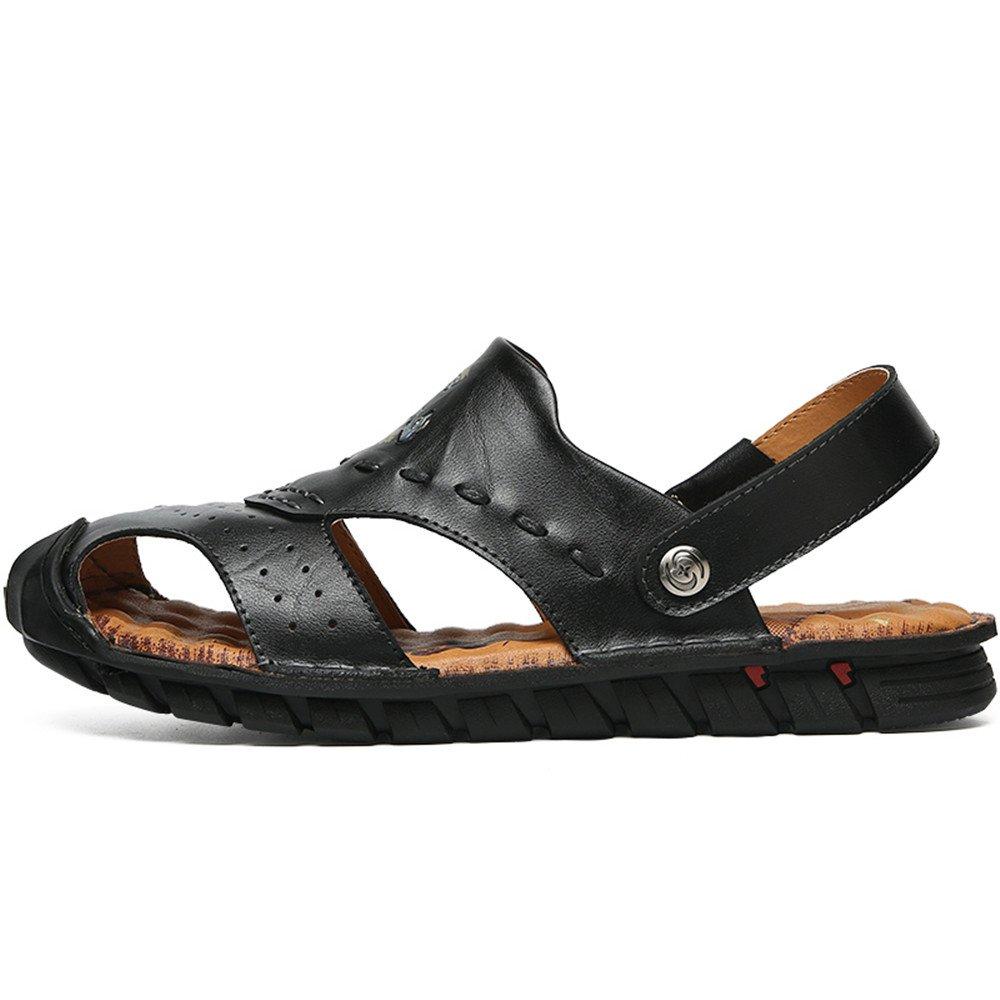 Jiuyue-schuhe, Männer rutschfeste aus echtem Leder Strand rutschfeste Männer Summber Sandalen Schuhe einstellbar rückenfrei,Herren Sandalen (Farbe : Schwarz, Größe : 41 EU) Schwarz 6900b1