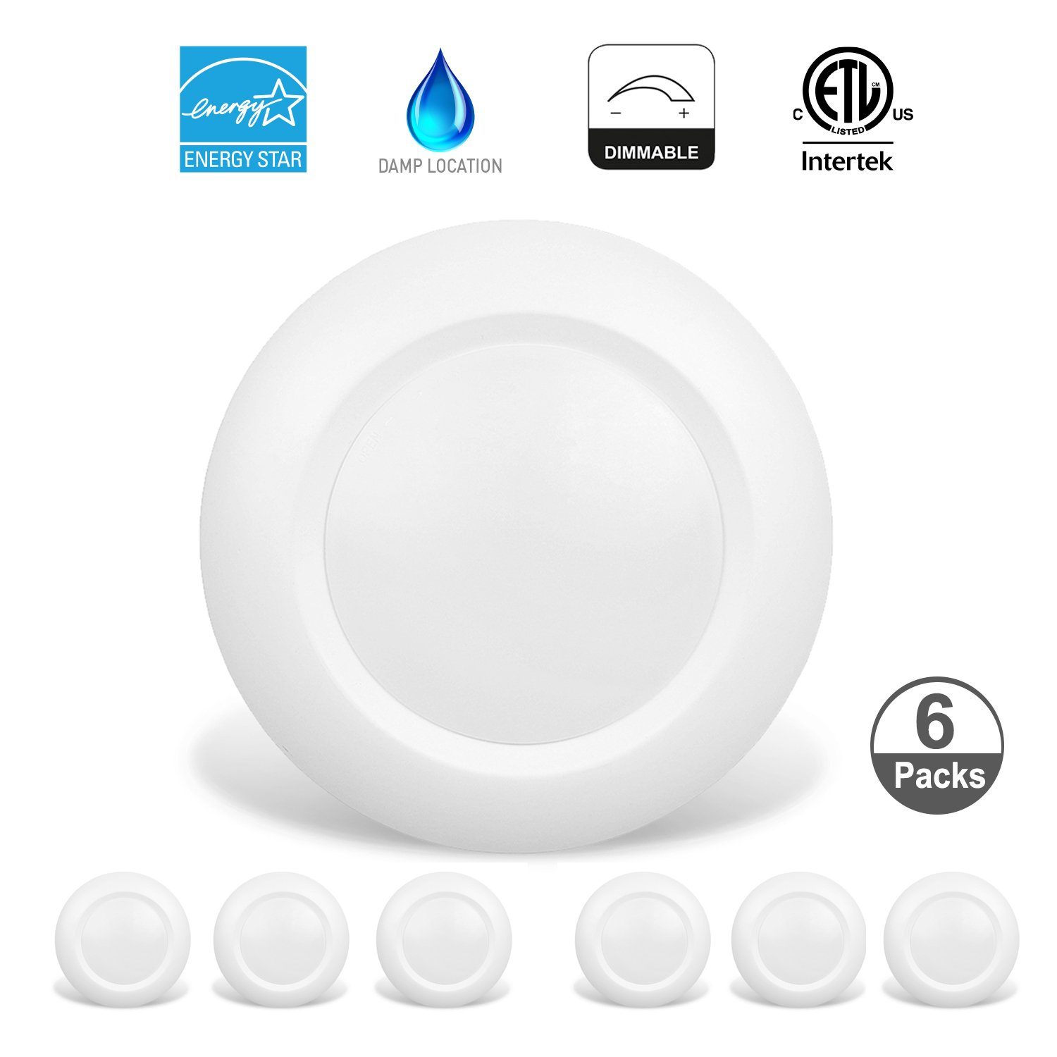 JULLISON 6 Packs 4 Inch LED Low Profile Recessed & Surface Mount Disk Light, Round, 10W, 600 Lumens, 3000K Warm White, CRI80, DOB Design, Dimmable, Energy Star, ETL Listed, White ... by JULLISON (Image #3)
