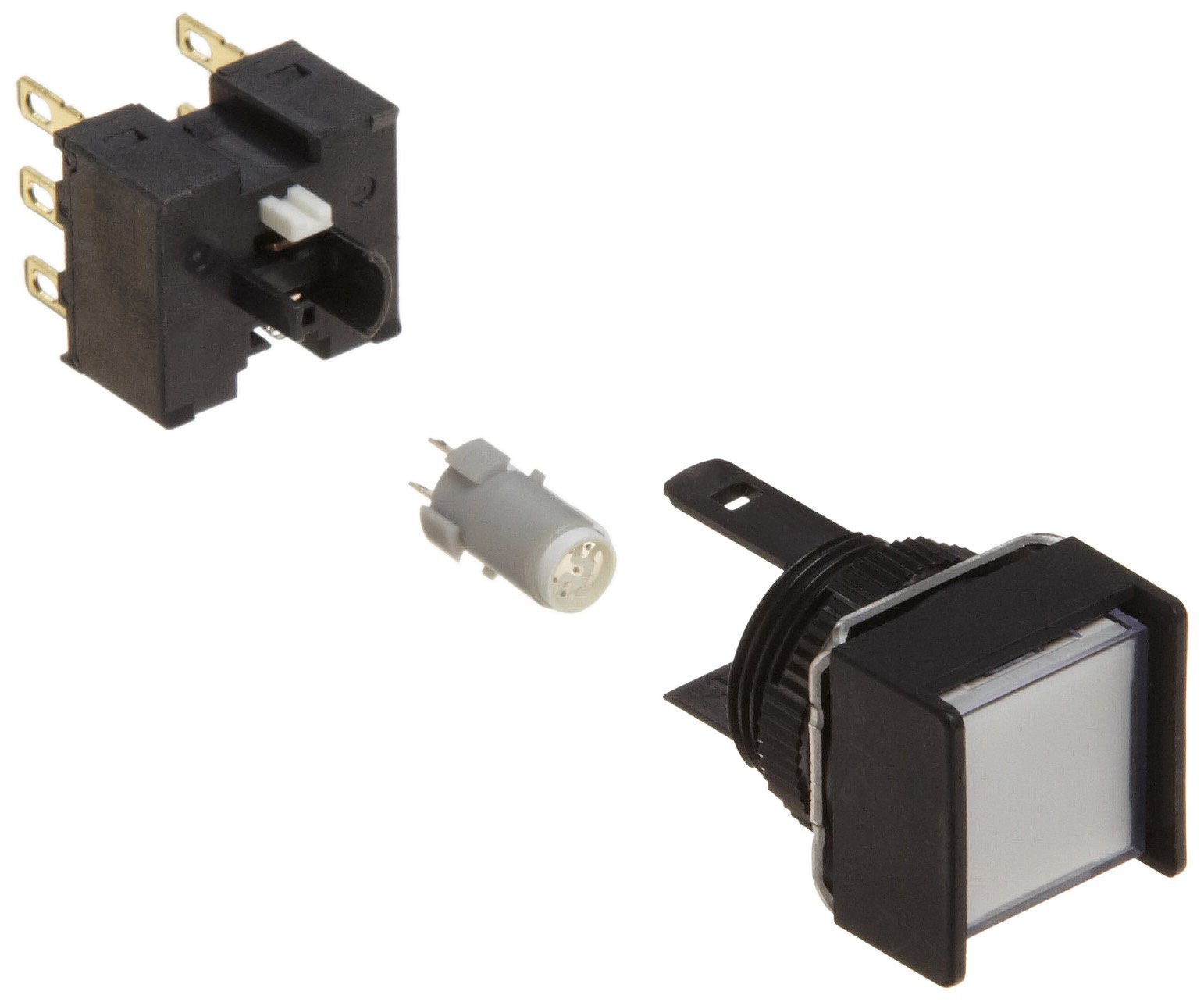 Omron A165L-AWA-24D-2 Two Way Guard Type Pushbutton and Switch, Solder Terminal, IP65 Oil-Resistant, 16mm Mounting Aperture, LED Lighted, Alternate Operation, Square, White, 24 VDC Rated Voltage, Double Pole Double Throw Contacts