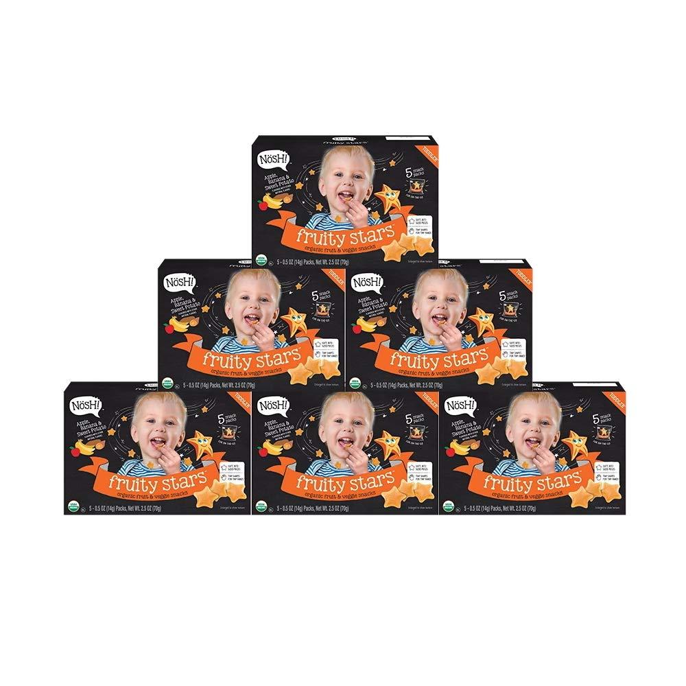 Nosh Fruity Stars Organic Fruit & Veggie Chews Toddler Snack, 5 Snack Packs, Apple, Banana & Sweet Potato (Pack of 6) by nosh