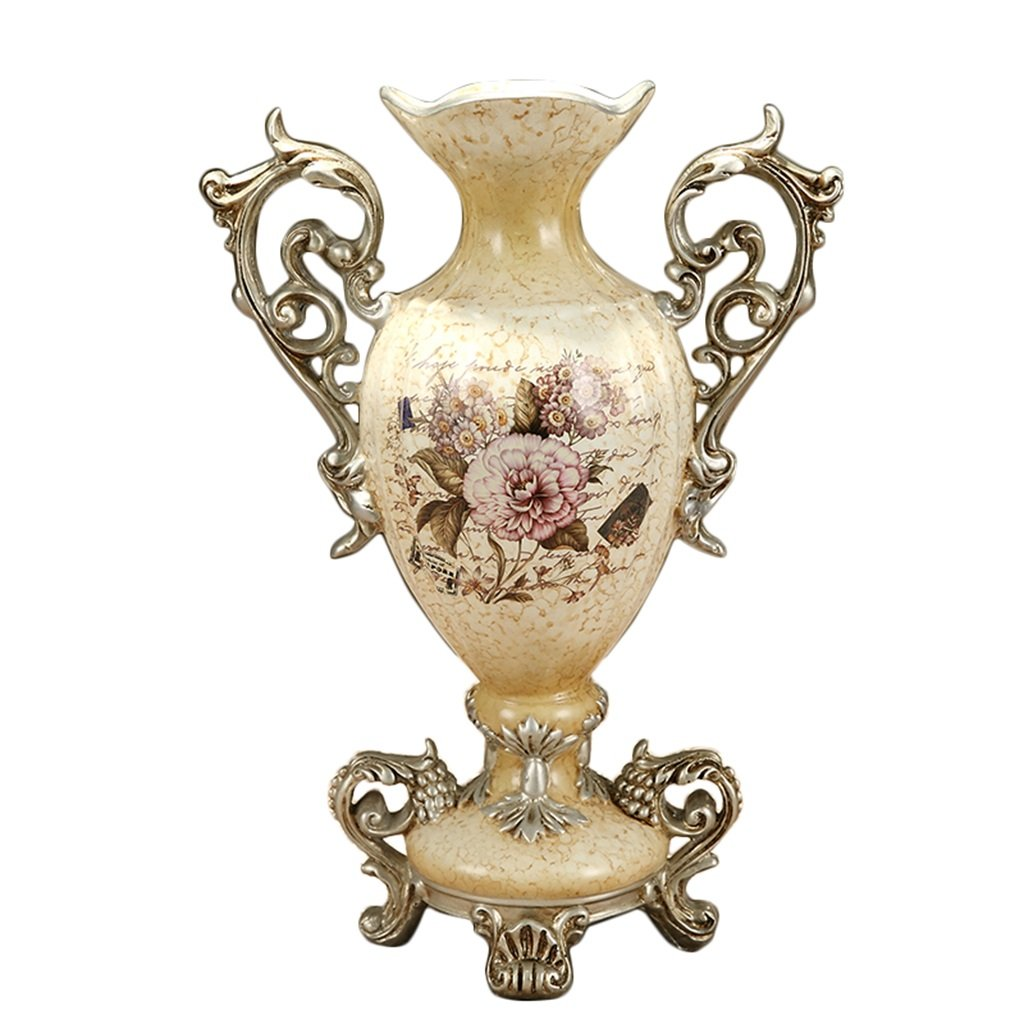 European-style Retro Resin Flowers Vase Living Room Dining Table Study Home Decoration Luxurious Creative Hand-painted Vase, Beige