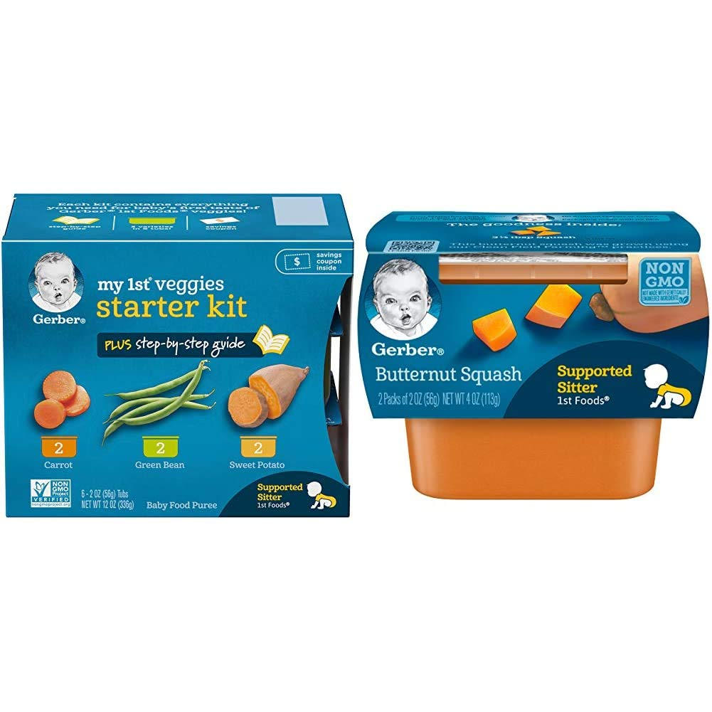 Gerber Purees My 1st Vegetables, Box of 6 2 Ounce Tubs (Pack of 2) & 1st Foods, Butternut Squash Pureed Baby Food, 2 Ounce Tubs, 2 Count (Pack of 8)