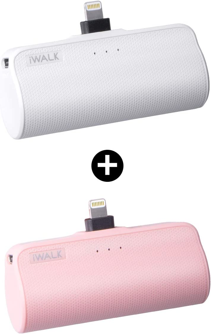 iWALK Mini Portable Charger for iPhone with Built in Cable, 3350mAh Compatible with iPhone 11 pro/Xs/XS Max/XR/X/8/7/6/Plus Airpods(2 Pack Pink and White)