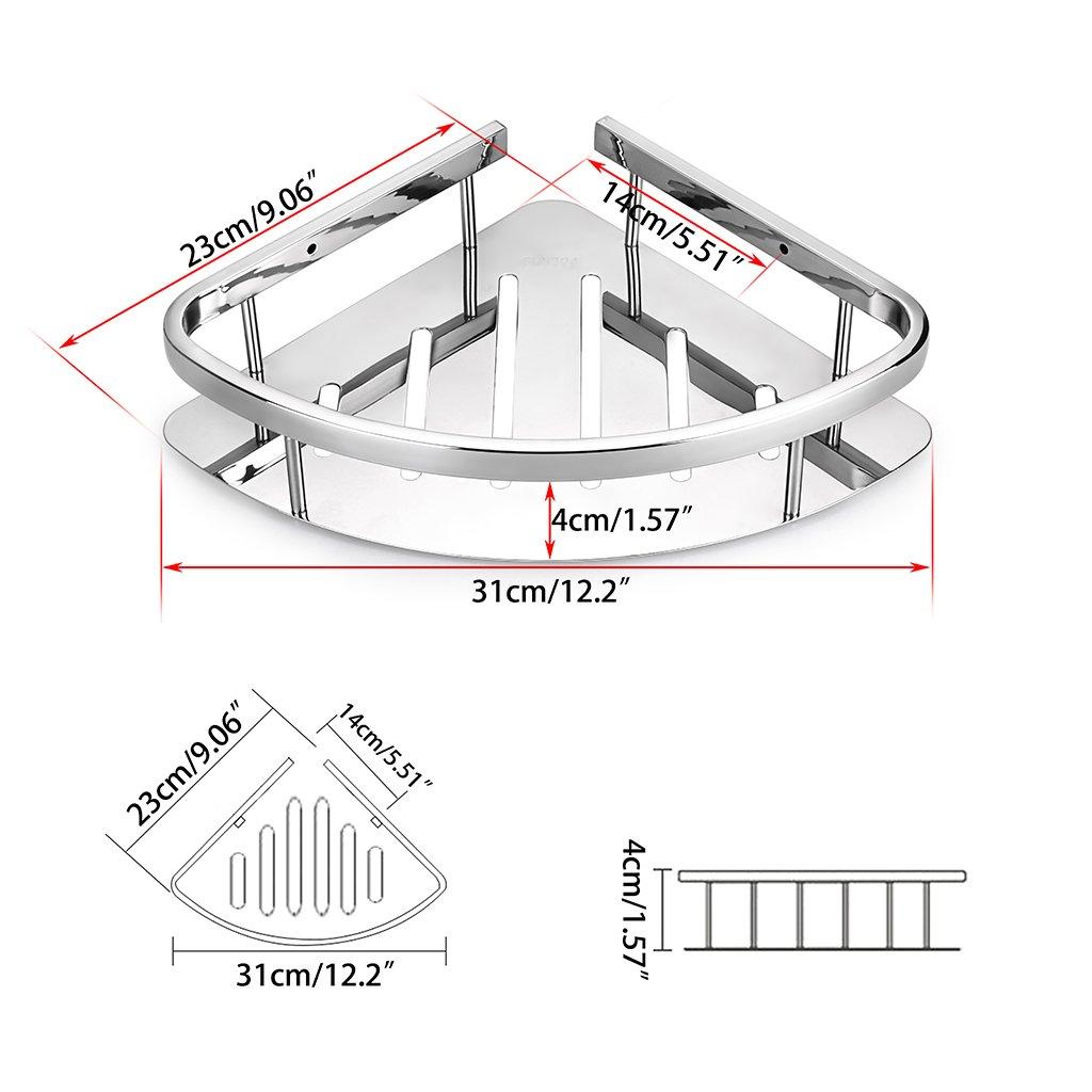 Longueur d/'Arc- 31cm,l/'Angle au Centre -90/° pour Mettre Les Toilettes- dia 23cm Sumnacon /Étag/ère de Douche INOX en Forme Triangulaire,Mieux /économiser de la Place de Salle de Bain Solide