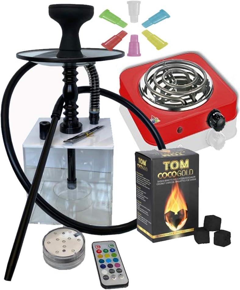 Pack Cachimba metraquilato cuadrada (tapa color blanco) + Hornillo 1000W Rojo + 1Kg carbon + bolsa 100 boquillas