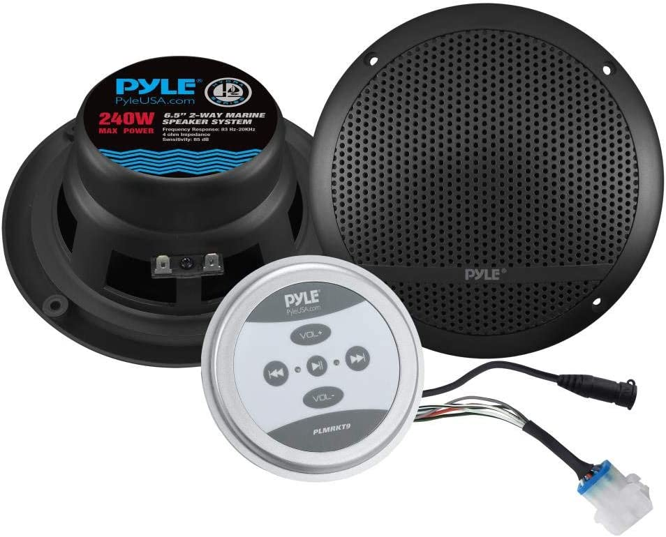 Pyle Bluetooth Marine Grade Flush Mount 10-Way Speaker System Amplified Full  Range Stereo Sound Dual Cone Dome Waterproof Universal Use Vehicle Home