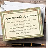 Vintage Sage Green Postcard Style Personalized Evening Reception Invitations