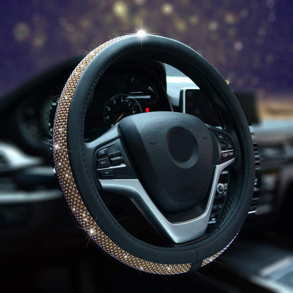 Alusbell Bling Bling Rhinestones Steering Wheel Cover for Women Diamand Crystal Steering Wheel Cover with PU Leather Universal Fit 15 Inch Gold