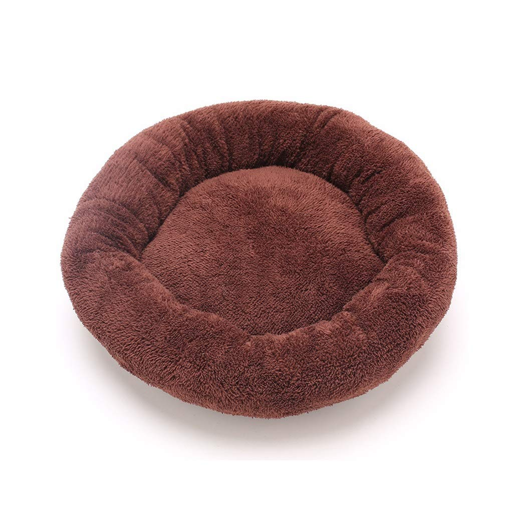 BROWN L BROWN L Modern Soft Plush Round Pet Bed for Cats or Small Dogs-Multiple Sizes and colors Available,Cuddly Pet Bed with Durable Fabric,for Warmth and Security (color   Brown, Size   L)