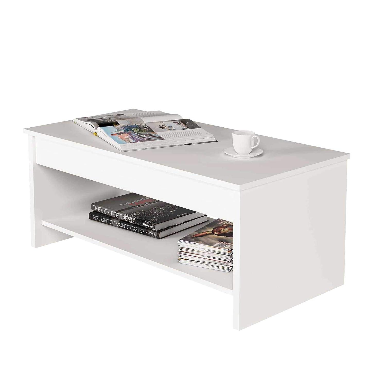 Samblo Argus Table Basse relevable en Bois manufactur/é Blanc 100/x 50/x 42/cm