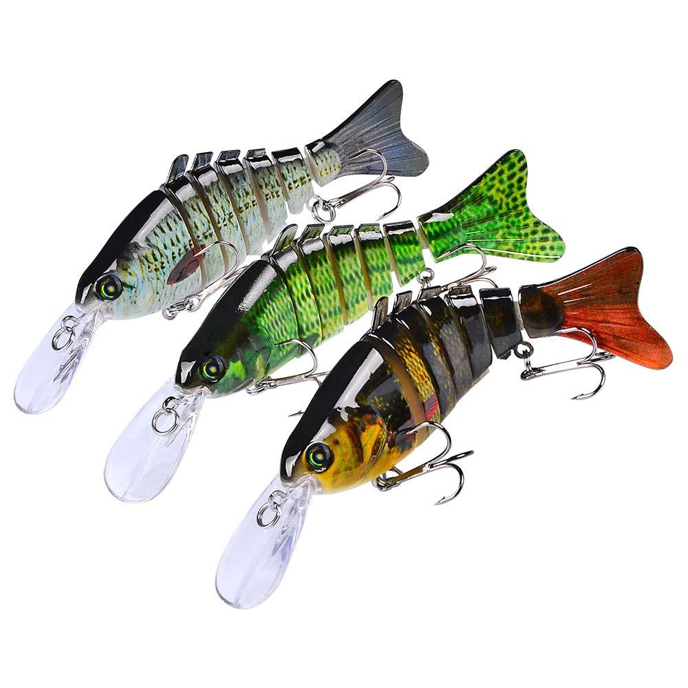 Sunlure Fishing Lures Bass Swimbait Lure Crankbaits Artificial Bait Multi Jointed Lifelike Trout Hard Baits Fish Tackle Kits 3 pcs/Set