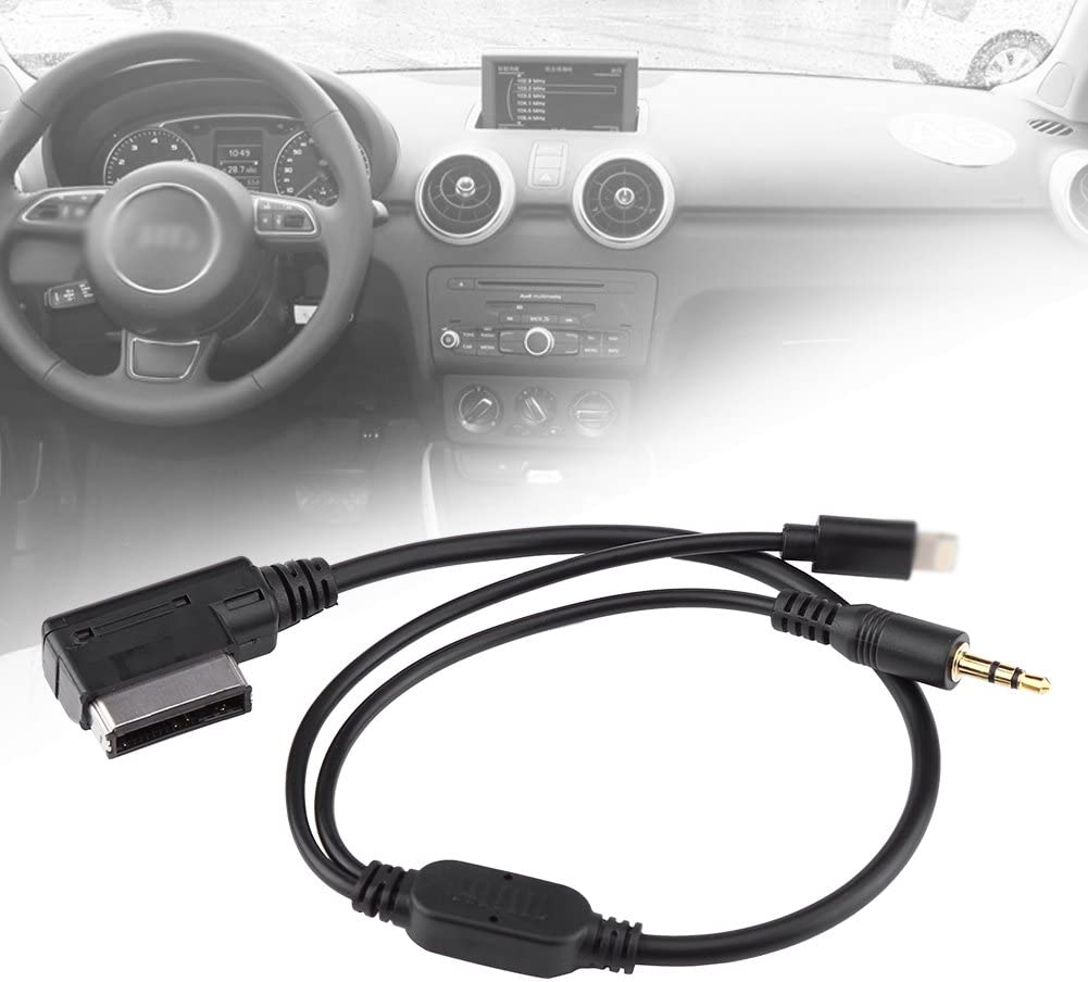 Terisass AMI Cable Car Vehicle Copper Core Audio Adapter Cable Plug and Play Music Interface Phone Charging Cable for A6L Q5 Q7 A8 S5 A5 A4L A3 2009-2014 Touran Tiguan GTI 6 CC Magotan
