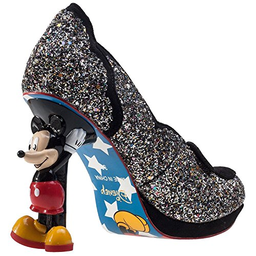 Scelta Irregolare Disney Minnie Mouse Nero Multi Glitter Womens Tacchi