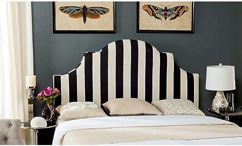 Safavieh Hallmar Black/ White Stripe Upholstered Arched Headboard King