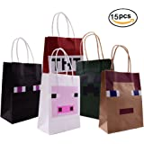 Pixel Miner Gaming Paper Bags 15 Pack For Happy Birthday Party Favor