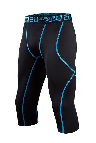 d76f4a30c EU Men s Compression 3 4 Tights Base Layer Running Sports Capri Pants(Black  Blue