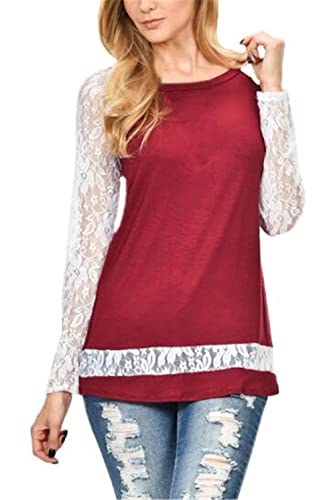 Tayaho T-shirt Manga Larga Mujeres Blusas De Encaje Flores Lace Camisas Patchwork Costura Camisetas ...