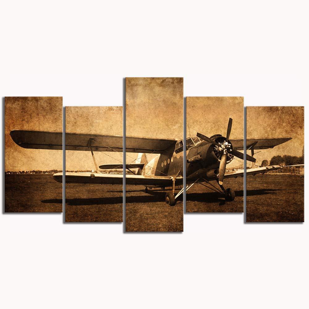 aicedu 5 Pi/èce Impressions sur Toile Vintage Avions Art Vieux Avion Image D/écoration Murale Peintures R/étro Aviation Militaire Avion No Frame