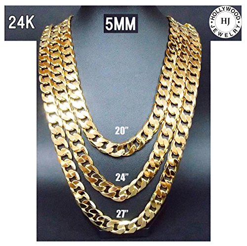 Gold Chain Necklace 24K Plated Small 5MM w/ Tarnish Resistant Overlay Pendant Men Women (24) - 24 Carat Gold Chain