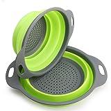 2 pezzi Kitchen scolapasta/scolatutto, scolapasta pieghevole in silicone -- 29.2*23.7cm e 24.6*20cm , Approvato FDA (Verde)