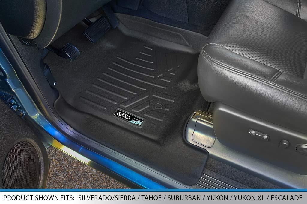 SMARTLINER Floor Mats 2 Row Liner Set Black for 2007-2013 Silverado//Sierra 1500//2500//3500 HD Extended Cab