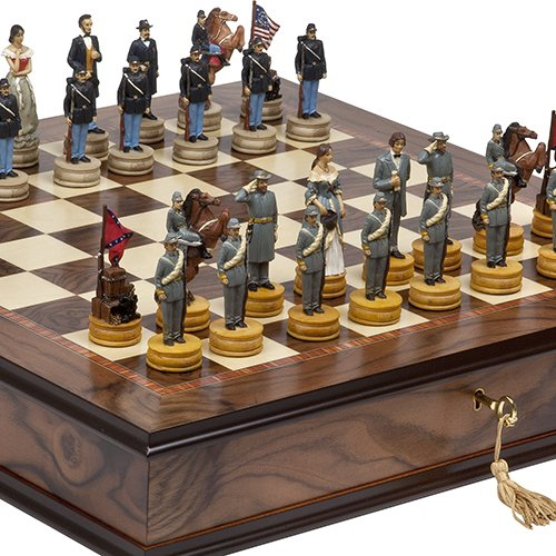 (American Civil War Hand Painted Chessmen & Luxury Milano Cabinet Board from Italy)