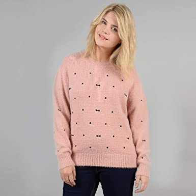 7ffa6c8e3655 Gabrielle Womens Fluffy Knit Jumper Sweater With Embroidery
