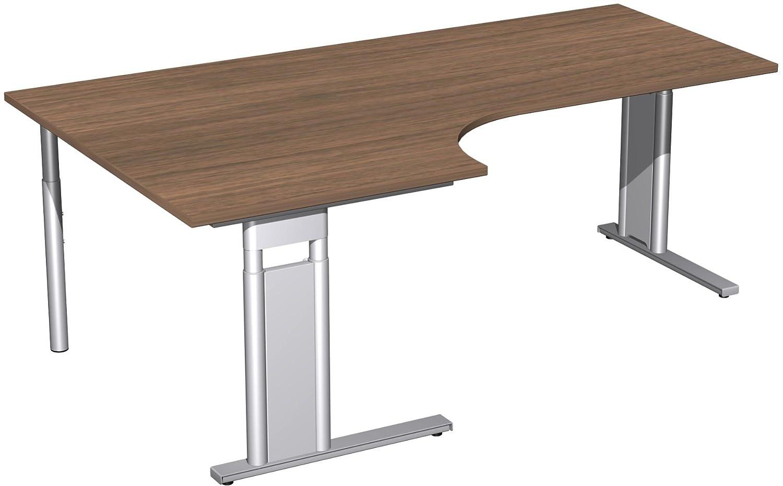 Geramöbel PC-Schreibtisch links höhenverstellbar, C Fuß Blende optional, 2000x1200x680-820, Nussbaum/Silber