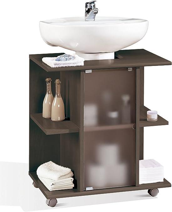 Abitti Mueble, modulo bajo para Lavabo de baño, Varios estantes y Puerta de Cristal, Color wengue