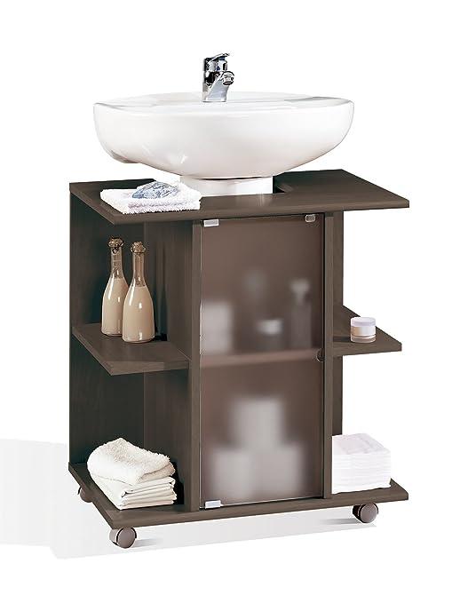 Abitti Mueble, modulo bajo para Lavabo de baño, Varios estantes y Puerta de Cristal
