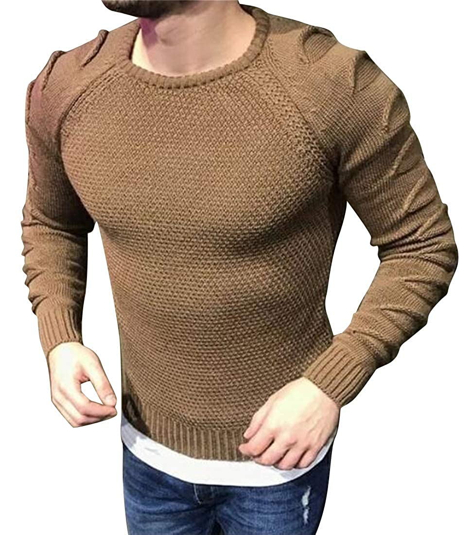SHOWNO Mens Stretchy Solid Color Crew Neck Regular Fit Knit Pullover Sweater Jumper