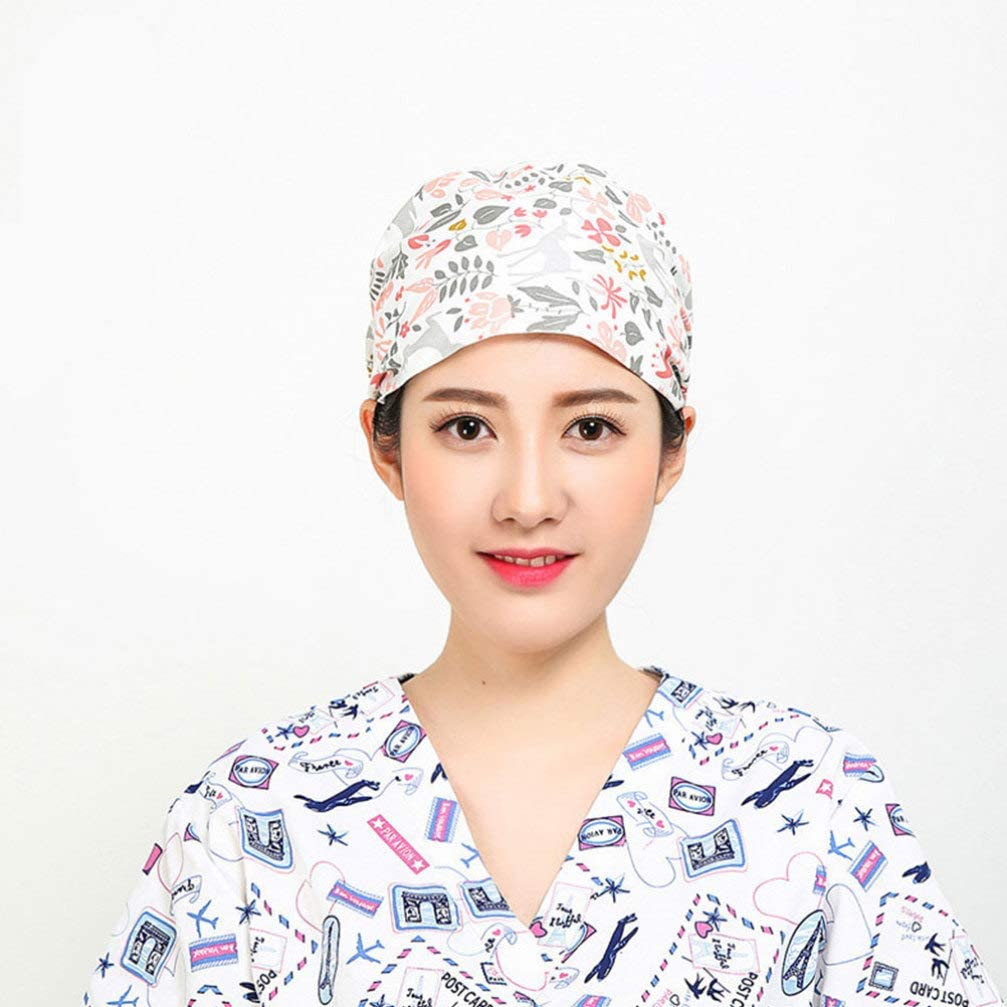 FENICAL Adjustable Surgical Cap Medical Bouffant Doctor Nurse Turban Cap for Men Women